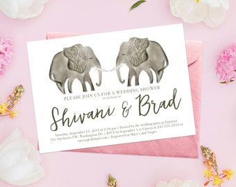 Henna Elephant Bridal Shower Invitation Design or Wedding Announcement, Modern Indian Inspired Watercolor Invite with Mehndi Elephants