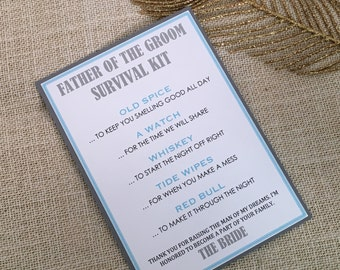 Father of the Groom Survival Kit - 5x7 - Postcard - Hard Copy
