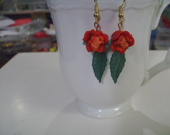 Red and Orange Rose Earrings - Free Shipping