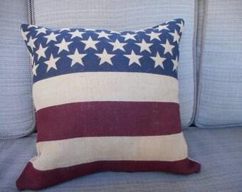 Americana Pillow, Patriotic pillow, flag pillow, burlap pillow, Red/white/blue pillow, Country pillow, throw pillow, decorative pillow, RTS