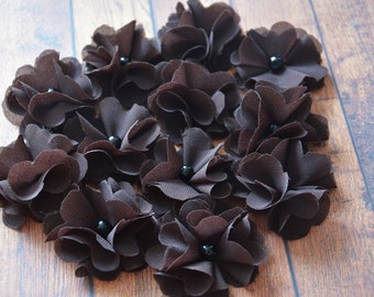 Floral Embellishment, Brown Chiffon Flower, Premade Blossom, Table Scatter, Hair Accessories, Craft Supplies, Hair Supplies, Flower for Hair