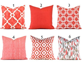 Pillow Covers ANY SIZE Decorative Pillow Cover Coral Pillows Salmon Pillows You Choose