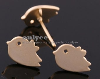 2pair/4pcs-11mmX8mmMatte Gold plated Brass Sparrow Earing post  Ear Wires(K536G)