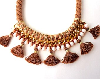 Tassel necklace, Bib necklace, Bib tassel necklace, Caramel Brown necklace, knotted necklace, Statement necklace, tribal necklace