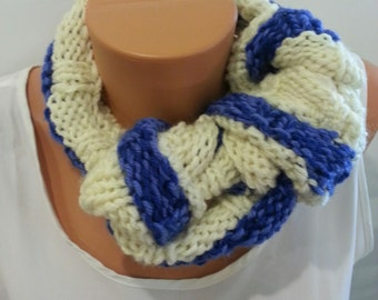 Blue & White Knit Infinity Circle Scarf