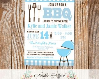 Light Blue and Ice Blue BBQ Baby Q baby shower couples shower on Baby Blue Gingham with utensils and grill