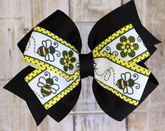 Bee Hair Bow - Girls Hair Bow - Bee Bow - Bumblebee Hair Bow - Hair Bows for Girls - Black Hair Bow - Summer Hair Bows - Pinwheel Hair Bow