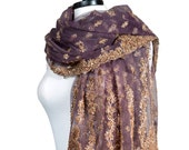 Purple and Gold Tulle Shawl, Embroidered Shawl, Holiday Tulle Net Scarf, Sequin Beaded Wrap, Purple Veil, Indian Wedding Bollywood, Bohemian