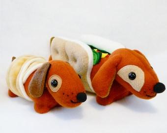 Stuffed daddy hot dog and crescent dachshund plush animals