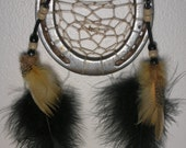 Horseshoe Dream Catcher with Black and Gold Feathers