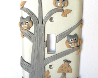 Owls On Branches Light Switch Plate Cover Boy's, Girl's room, Nursery