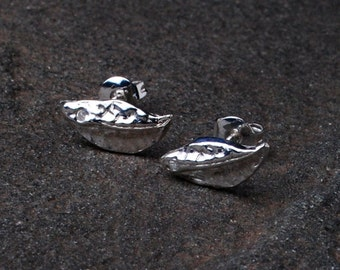Silver Leaf Stud Earrings- Nature Jewelry- Botanical Jewelry- Tiny Crystal Earrings- Simple Silver Earrings- Nature Jewelry- Leaf Jewelry