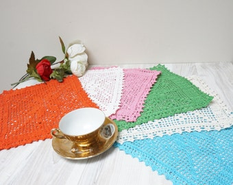 Doilies set of 6 crochet Coaster mat pad square blue pink white green orange off table placemat doily small tiny folk pattern Scandinavian