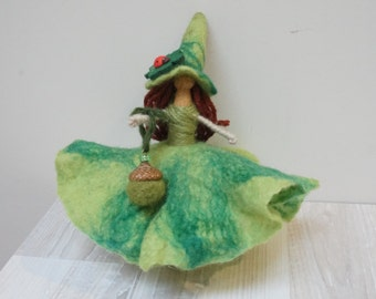 Good luck kitchen witch doll handmade hanging ornament felt dress hat Halloween hand green wedding fairy fay small flower Irish elf
