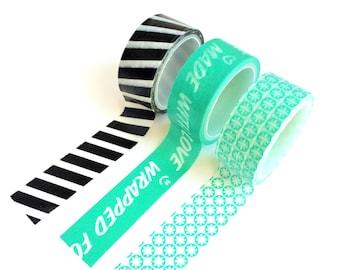 Set of 3 Washi Tapes Black Stripes / Turqoise small