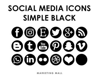Social Media Icons Black, Social Media Buttons, Black Social Icons, Blog Icons, Website Branding, Blog Buttons, Black Buttons