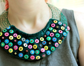 Colorful Necklace, Textile Necklace, Colorful Modern Jewelry, African Vinyl Jewelry Architectural, Vinyl Beads, Modern Tribal, One-of-a-Kind