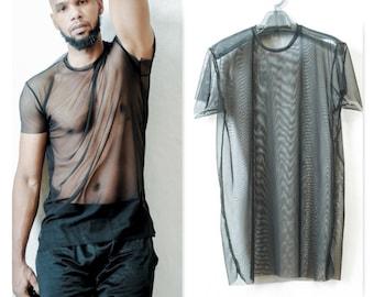 Mens Elongated Mesh See Through T-Shirt (Super Stretchy and Sheer)