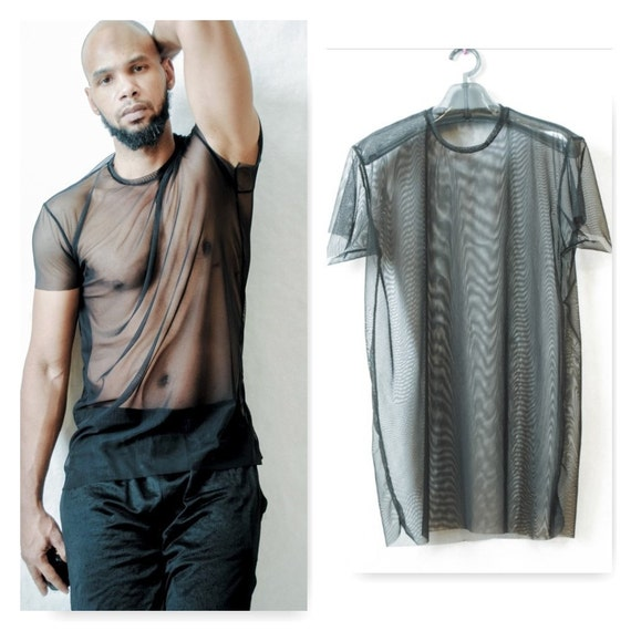 Mens Elongated Mesh See Through T-Shirt