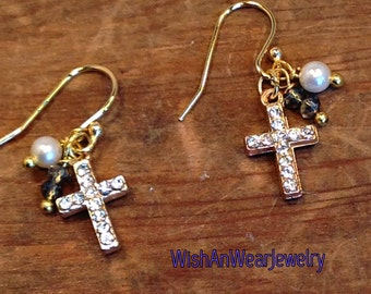 Dainty CZ Crystal CROSS Assemblage Earrings Pierced Double Sided Rhinestones Dangling Fresh Water Pearl Crystal 14kt GP Christian WishAnWear
