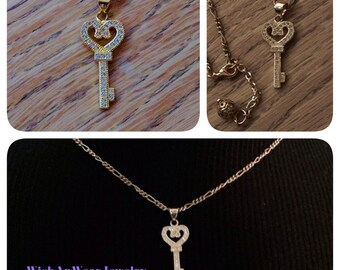 Sparkly Key Pendant Charm Necklace Pave Set CZs Yellow Gold Original Assemblage Key to Your Heart Realtor Graduation WishAnWearJewelry