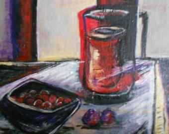 Fine Art-Original Oil Painting-Still-life-Modern-cherries- Gift Idea-Modern art-Burgundy-small treasures