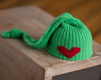 Newborn Christmas Hat Upcycled Sleepy Time Elf Hat Green with Red Heart READY TO SHIP photography prop, Newborn Boy Hat, Newborn Hat Girl