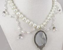 Silver Mirror Necklace Glass Pearls Elegant Lolita Pendant Charm