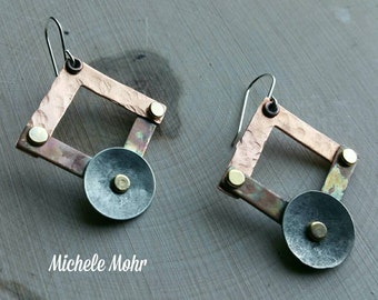 Industrial Flame Painted Hammered Copper and Silver Riveted Geometrical Earrings
