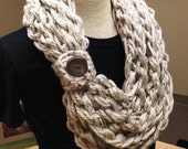 Kay's Crochet Arm Knit Crochet Bulky Rope Scarf In Oatmeal with Button