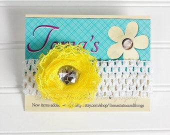 25 PERCENT OFF Yellow Lace Flower Headband, Crochet with Rhinestone Center