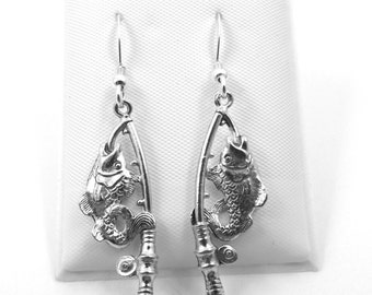 Pewter Fishing Pole with Fish Charms on Sterling Silver Dangle Earrings - 0206