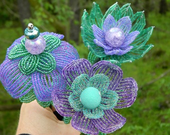 Purple and Mint Green French Beaded Flower Trio