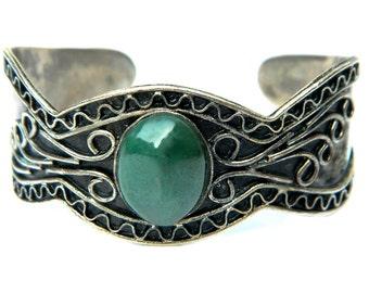 Tibetan Bracelet Gypsy Green Stone Oxidized Tibetan Silver Pewter Bohemian Scrollwork Cuff Gemstone Jewelry For Women Mystery Green Stone