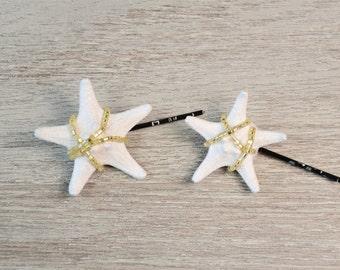 White Gold Starfish Hair Pin Starfish Hair Accessory Starfish Hair Clip  Starfish Headpiece Mermaid Beach Wedding Beach Hair Bobby pin boho