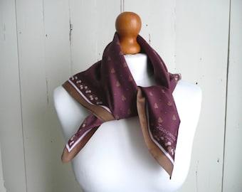 Vintage satin scarf - Jacqmar satin scarf - pink floral satin scarf - vintage pink satin scarf - vintage pink and brown jacqmar scarf