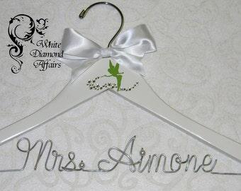 Tinkerbell Themed Wedding Hanger, Disney Fairy Wedding, Personalized Bridal Hanger, Fairy dust, Bridal Shower Gift, Wedding Dress Hanger,