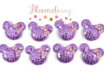 """1.5"""" Sequin Micky Mouse with Bows Padded - Lavender w/Pink Bow- Sequin Appliques, Micky Mouse Appliques -  Lavender Mickey -Hair Accessories"""