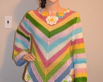 Rainbow Flow Custom Made Size Crochet Sweater Sizes 0 to 20.