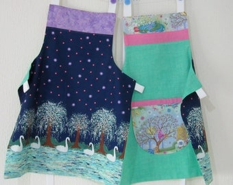 Girls Apron - Swan Lake and Fairy Cottage - Reversible