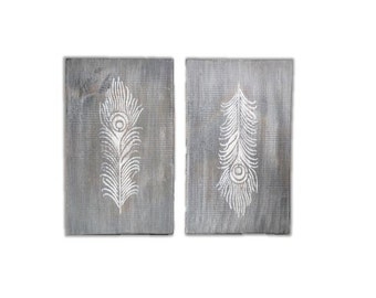 Feather Signs - Set of 2 Weathered Gray Feather Wood Signs - Distressed Feather Signs - Feather Wall Decor - Feather Nursery Decor - 7x12
