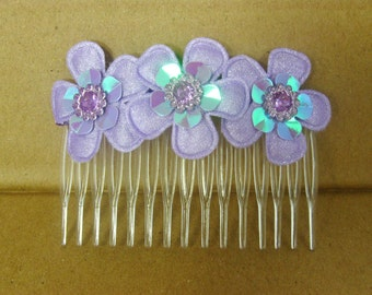 Girls Hair Accessories, Purple Flower Side Hair Comb, Side Clip, Short Hair Accessory