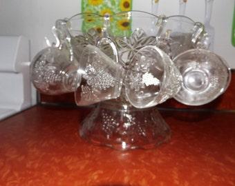 Vintage Punch Bowl Set: Bowl, Stand, 12 Cups. Ladel