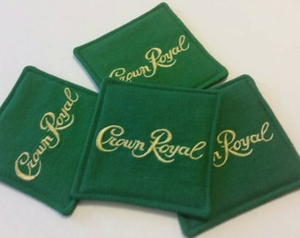 Crown Royal Apple Green Fabric Coasters Set of 4, Gifts under 20, Man Cave, Groomsmen Gifts, Coaster Sets, Stocking Stuffers, Barware
