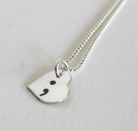 Semicolon Depression Self Harm And Suicide Awareness: Semicolon Heart Necklace Sterling Silver Suicide Awareness