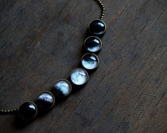 Moon phase necklace Lunar Phases Jewelry Glass Dome Statement Necklace Glass dome necklace Antique bronze Space jewelry Moon phases Planet