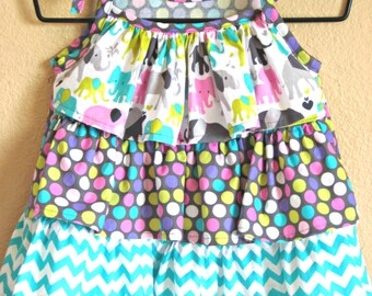 Girls Ruffle Shirt, Elephants, Dots, & Chevron