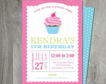 Cupcake Party Invitation, Personalized, Custom, DIY, Party Printable, Printing Available, Birthday Party, Digital File, Double Sided