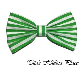 Green Stripes Hair Bow, Cotton Fabric Hair Bow, Girls Hair Bow, Handmade Fabric Hair Bow, Green Big Bow, Kawaii Bows, Baby Bow Clip, Bow Tie