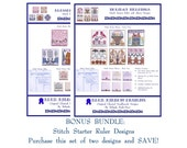 Blue Ribbon Designs - Stitch Starter Ruler Sleeve Bundle (2 Charts) - Cross Stitch Charts
